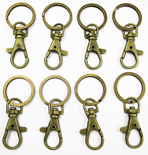 ALL in ONE Lobster Clasps Claw Swivel Trigger Clips Snap Hooks Bag Key Ring Hook Charms Findings (20pcs Antique Bronze)
