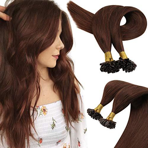 Sunny Dark Auburn Hair Extensions Human Hair U Tip Pre Bonded Hair Extensions Keratin Fusion Remy Hair 22inch 50g/pack
