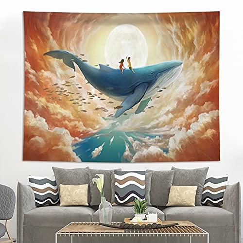 Decoración para el hogar Impresión de ballenas Tapices para colgar en la pared Estera de yoga Manta Decoración de habitación estética Decoración Mural Decoración linda de la habitación A5 95x73cm