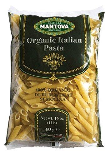 Mantova Italian Organic Penne Rigate Pasta - 100% Durum Semolina Organic Penne Rigate - 16 Oz (Pack Of 12) - Product Of Italy