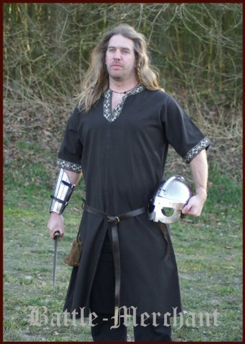 Mittelalterliche Tunika kurzarm, schwarz für LARP, Mittelalter, Wikinger und Römer Größe L by Battle Merchant