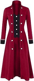 Modaworld Donna Cappotto Steampunk Vintage Camicia Manica Lunga Collo Alto Colletto Giacca Gotico Vittoriano Giacce Mediev...