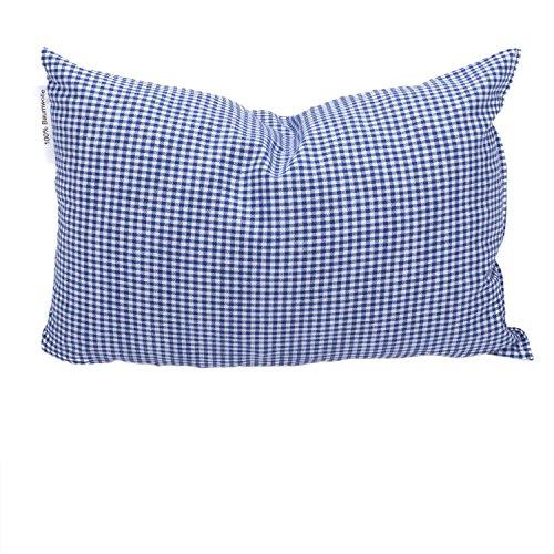 Formalind, cuscino imbottito con 100% legno di cembro proveniente dalle Alpi, federa in cotone, contiene trucioli di cembro freschi (20 x 30 cm) (blu a quadretti piccoli)