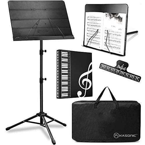 Kasonic 2 in 1 Dual-Use Folding Sheet Music Stand & Desktop Book Stand with Portable Carrying Bag, Sheet Music Folder & Clip Holder (Black)