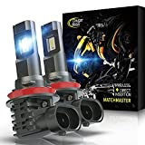 Cougar Motor H11 LED Bulb, Noiseless H8 H9 6500K Cool White All-in-One Conversion Kit Direct Installation, Halogen Replacement