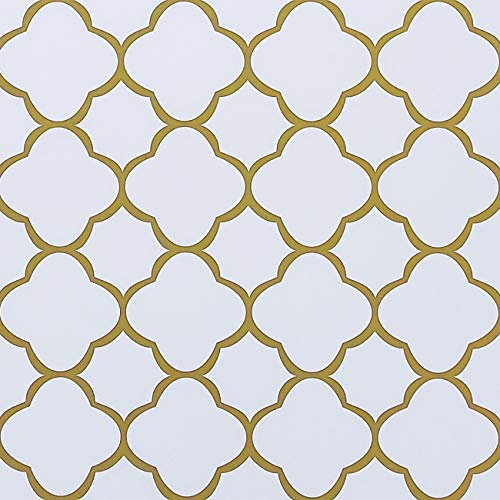 "Feisoon 17.7""x118"" White and Gold Trellis Wallpaper Peel and Stick Trellis Contact Paper Removable Wallpaper Self Adhesive Wallpaper Modern Trellis Wallpaper for Home Cabinet Drawer Shelf Liner Decor"