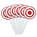 Set of 6 Cupcake Picks Toppers Decoration Guns Weapons Military - Target Sniper Scope Bullseye