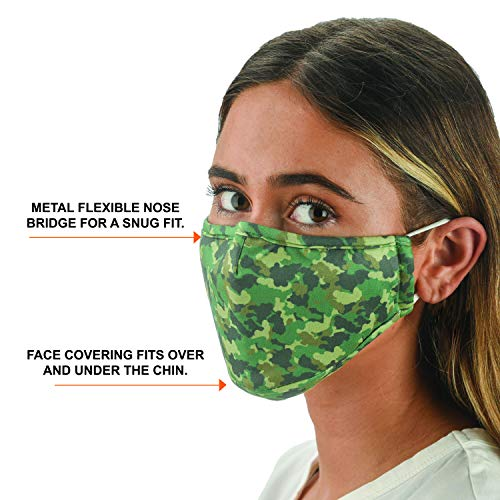 Snoozies 3-Layer Reusable Face Mask w Filters & Nose Bridge - Camo