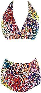 Digital Printing Split Swimsuit Plus Fertilizer to Increase Ladies Sexy Split Bikini high Waist Swimsuit Figure 3XL