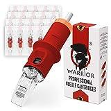 WARRIOR Red Cartucce Aghi per Tatuaggi Professionale Sterilizzate con Eo Gas Tattoo Needle Cartridge Curve Magnum 20 pezzi in Acciaio Chirurgico Usa e Getta Trucco Permanente (RED-1013CM)