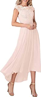 Sponsored Ad - Zyhappk Women's O-Neck Mother of The Bride Dresses with Pockets Long Lace Chiffon Formal Party Dress Zy05