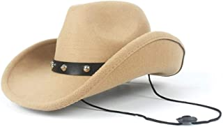 2019 Womens Hats Caps Womens Unisex Wool Western Cowboy Hat for Women with Punk Rivet Wide Brim Hat Winter Outdoor Casual Hat Lady Beach Adjustable Fashion Foldable (Color : Khaki, Size : 56-58)