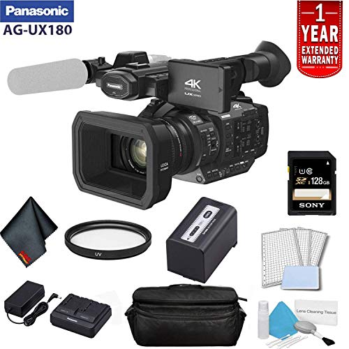 Purchase Panasonic AG-UX180 4K Premium Professional Camcorder Bundle with 1 Year Extended Warranty, Sony 128GB SDXC Memory Card, UV Filter + More