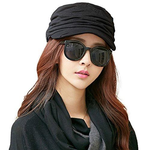 SIGGI Barett Mütze Schirmmütze Damen mit Visor Baskenmütze schwarz