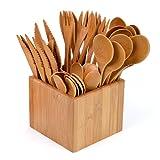 GRÄWE Bambusbesteck, 41-teilig, Partybesteck aus Holz für 10 Personen, Holzbesteck in Bambusbox, umweltfreundlich, biologisch abbaubar
