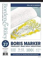 Borden & Riley #37 Boris マーカー レイアウト 明るい白 半透明ボンドパッド 9 x 12インチ 14ポンド 100枚 ホワイトシート パッケージは異なる場合あり (037P09121C)