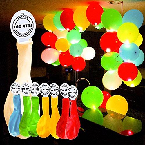 YOHOOLYO 50 x Palloncini Colorati LED Palloncini Luminosi Luce Led 30cm per Decorazione Natale Festa Matrimonio Compleanno ecc