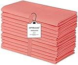 Clinica de algodón 12 servilletas de tela 50 x 50 cm, servilletas de 100% algodón, suave y cómoda, calidad de hotel duradera, para eventos y uso doméstico regular naranja