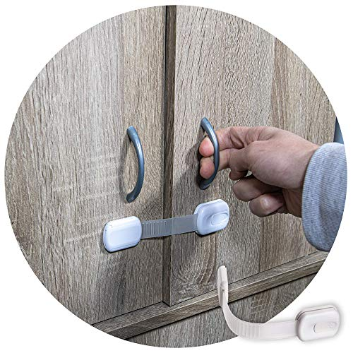 6-Pack Child Proof Locks for Cabinet Doors, Drawers, Fridge, Toilet Seat, Dishwasher, Trash Can, Cupboard - 3M - No Drilling - Child Safety Locks for Cabinets and Drawers - Baby Proofing Cabinet Lock