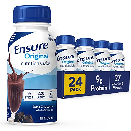 Ensure Original Nutrition Shake, Small Meal Replacement Shake, Complete, Balanced Nutrition with Nutrients to Support Immune System Health, Dark Chocolate, 8 fl oz, 24 Count