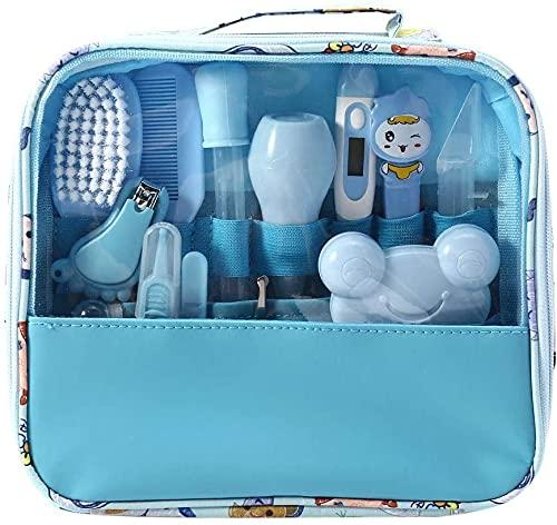Baby Pflegeset Babypflege Kit 13-teiliges Baby Pflege Produkte Baby Pflegeset Erstausstattung Nagel und Nasen Pflege mit Tasche mit Handtasche (Blau)