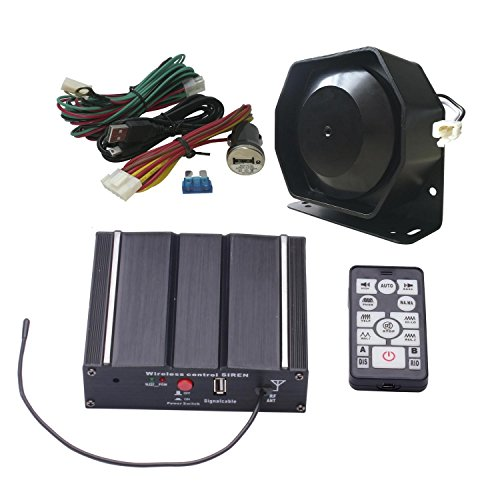AS AS7100E-SPK0041 100W Police Siren Kit with Speaker Wireless Remote Control PA System Auxilary Light Terminal Wiring Harness fit for Police,Ambulance,Fire, Engineer and Volunteer Vehicles,etc.