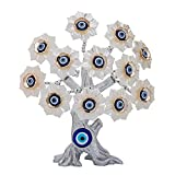 YU FENG Turkish Evil Eye Silver White Resin Flowers Tree Fengshui Ornament for Home Office Decor Protection Spiritual Gift