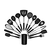 Kitchen Utensil Sets - 15 Pieces Silicone Cooking Tools Heat Resistant Silicone Kitchenware Baking Utensils Set for Nonstick Heat Resistant Cookware (Black)