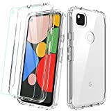 Dahkoiz Case for Google Pixel 4A Case with Tempered Glass Screen Protector, See-Through Clear Crystal TPU Bumper Cover Slim Shockproof Protective Phone Cases for Google Pixel 4A, Clear