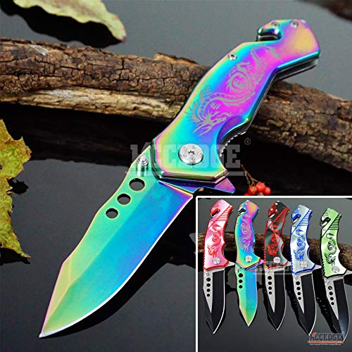 KCCEDGE BEST CUTLERY SOURCE EDC Pocket Knife Camping Accessories Razor Sharp Edge Drop Point Blade Folding Knife Camping Gear Survival Kit 58595 (Rainbow)