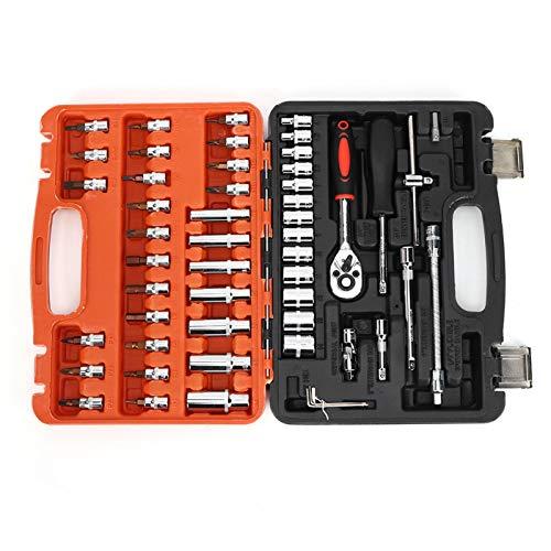 Kit de reparación de llave de trinquete, caja de herramientas de reparación automática, caja de herramientas de reparación automática, llave de tubo, fuerza, estable profesional para coche