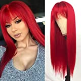 QD-Tizer Red Long Silky Straight Wigs with Bangs, Heat Resistant Synthetic No Lace Wig for Fashion Women, Natural Looking Hair Replacement Wig for Party Cosplay
