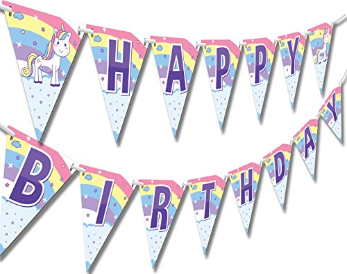 Papery Pop Unicorn and Princess Happy Birthday Banner - Kids Birthday Decorations for Girls - Rainbow Unicorn Party Supplies
