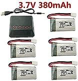 ZYGY 5PCS 3.7V 380mAh 25C Batterie au Lithium avec 5en1 Chargeur pour E016H E016F Hubsan X4 H107 H107C H107L Syma X11 X11C HS170 HS170C F180C HS170G TOZO Q2020 FX801 V911S A120 XK A150 V966