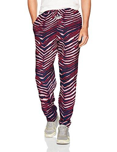 Zubaz Men's Classic Zebra Printed Athletic Lounge Pants, Navy/red, M