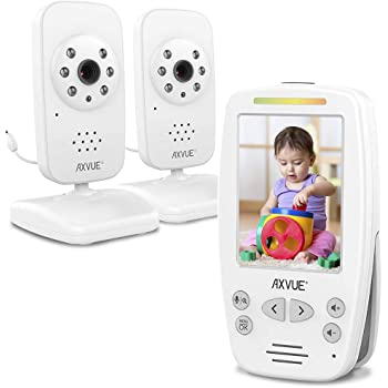 Video Baby Monitor 2 Cameras, Large Vertical Screen, Comfort-Designed Handheld, 1000ft Range, Secure Wireless Technology, Auto Ninght Vision Cam, Temperaure Alert.