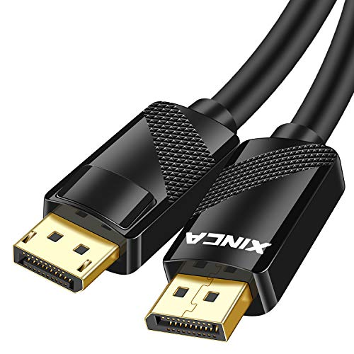 XINCA DisplayPort to DisplayPort Cable 6FT DP Male to Male Cable Ultra High Speed Gold-Plated DisplayPort 1.2 Supports 3D 4K@60Hz 2K@144Hz Compatible with Computer Desktop Laptop PC Monitor Projector