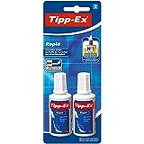 BIC Tipp-Ex Rapid, 2 x 25 ml Korrekturflüssigkeit, Korrekturfluid mit Auftragsschwämmchen für...