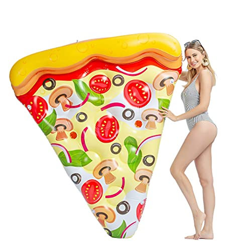JOYIN Giant Inflatable Pizza Slice Pool Float (Vegetarian) with Cup Holders for Inflatable Pool Float Party Decorations, Extra Large Summer Pool Raft