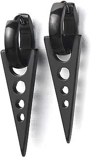 Tribal Triangle Drop Huggie Hinged Earrings for Men Women, Stainless Steel, 2pcs