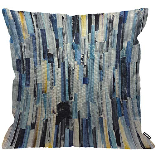 HGOD DESIGNS Abstract Stripes Cushion Cover,Watercolor Geometric Multicolor Stripes and Teals Ink Texture Throw Pillow Case Living Room Bedroom Sofa Chair 18X18 Inch Pillowcase 45X45cm
