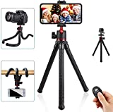 Phone Tripod, Mini Flexible Tripod Stand with Bluetooth, GoPro Adapter & Hidden Clip with Cold Shoe Mount, Compatible with iPhone/Android/Camera for Live Streaming Vlog Video