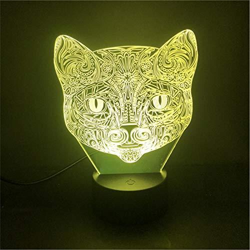 LBJZD luz de noche Tattoo Cat Control Led Night Light Usb Único Para Ventiladores Sensor Táctil Mesa De Regalo Para Niños Base Brillante Colorida Con Control Remoto Con Mando A Distancia