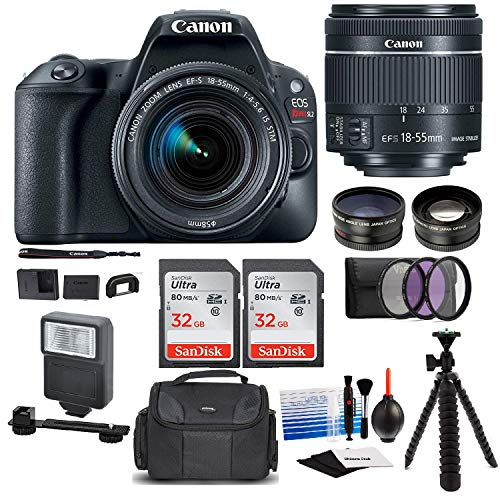 Canon EOS Rebel SL2 Digital Camera with Canon EF-S 18-55mm STM Lens : 24 Megapixel 1080p HD Video DSLR Bundle with 64GB (2X 32GB SD Cards) Mini Tripod Filter Kit Flash Bag & Charger Professional Kit