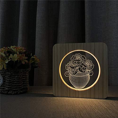 Blumenvase 3D Tischlampe Kinder Spielzeug Geschenk LED Arylic Nachttisch Licht Carving n's Room Decorate