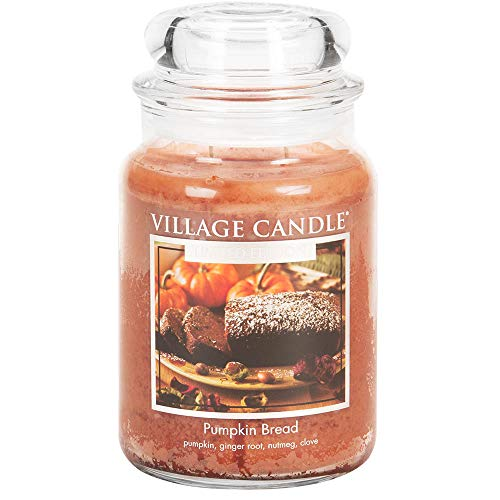 Village Candle Pumpkin Bread 26 oz Glass Jar Scented Candle, Large