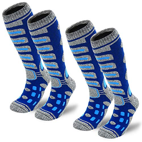 Camlinbo 2 Pair Ski Socks Skiing Snowboarding Cold Weather Winter Outdoor Sports Socks for Women Men Sock (2 Blue, M)