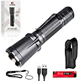 klarus XT11GT Pro 2200 Lumens USB C Rechargeable Tactical Flashlight, Instant Reaction Dual Tail Switches, Tactical + Outdoor Settings, with 3100mAh IMR 18650 Battery, Holster