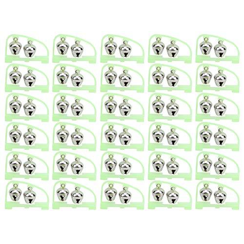 Bnineteenteam Alarma de picadura de caña de Pescar Nocturna, 30 Piezas, Alerta de Cebo de Pescado de Campanas gemelas Luminosas, fácil de identificar para Pesca Nocturna