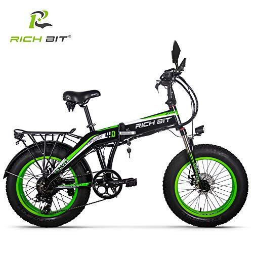 RICH BIT 20 Pollici Fat Bike Bicicletta elettrica Pieghevole a 7 velocità Bici da Neve 48 V 9.6 Ah 500 W Motore Telaio in Lega di Alluminio 5 PAS Mountain Bike (Verde)